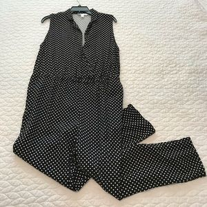 PopSugar Black Pant Jumpsuit with White Polka Dots